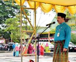 Peringati HUT Riau Ke - 60, Pemkab Inhil Laksanakan Upacara Disertai Tele - Conference Dengan Gubri