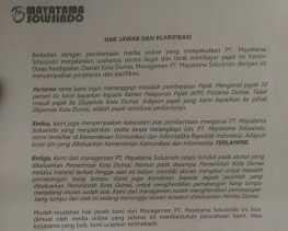 Ini Hak Jawab dan Klarifikasi Terkait Pemberitaan Mayatama Solusindo