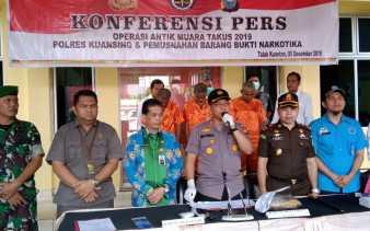 Polres Kuansing Musnahkan Narkotika Hasil Operasi Antik Muara Takus 2019