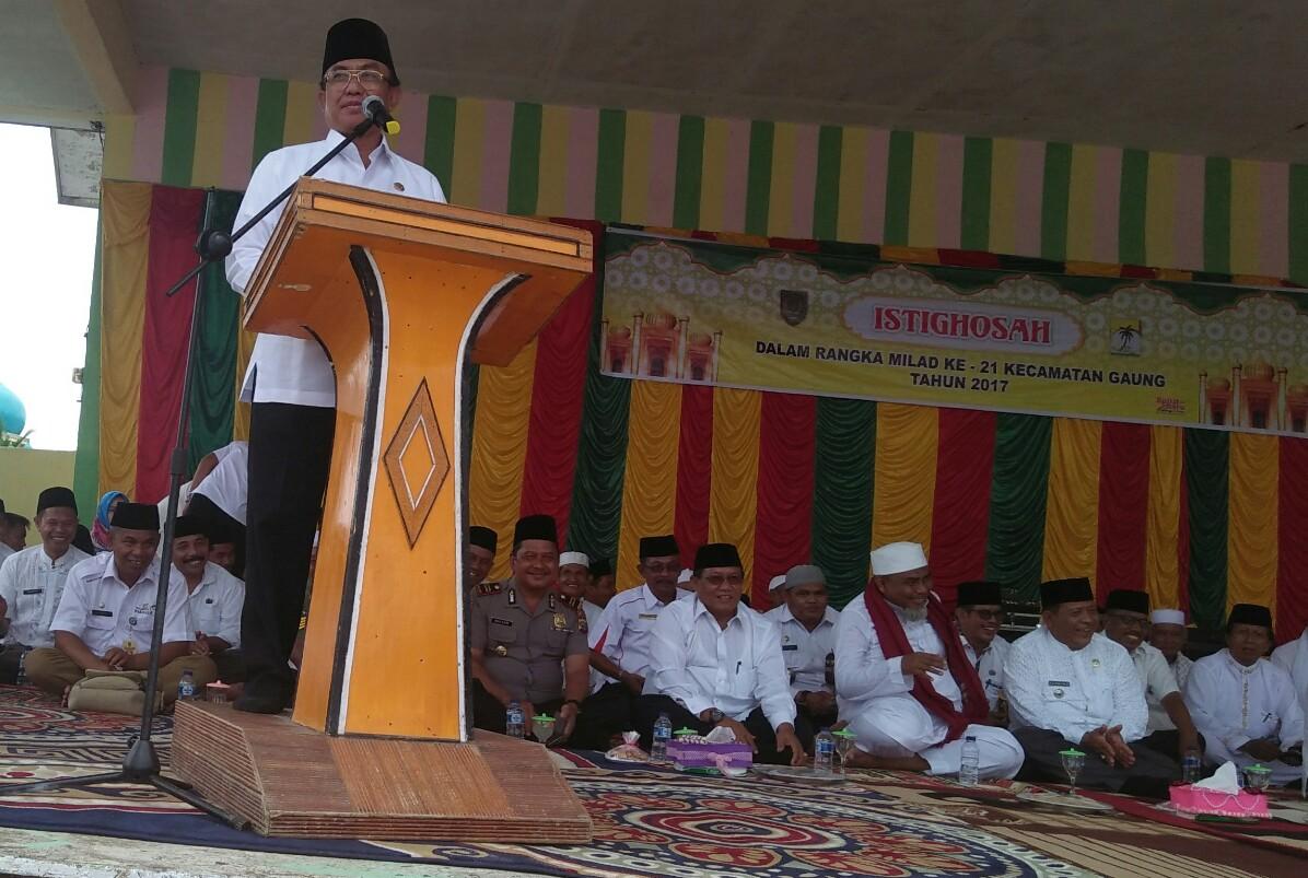 Bupati Wardan Hadiri Istighatsah Dalam Rangka Peringatan Milad Ke - 21 Kecamatan Gaung Tahun 2017