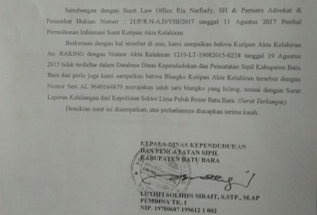 Akte Kelahiran Kades Pamesi Bathin Solapan Diduga Hasil Curian dari Disdukcapil Batubara