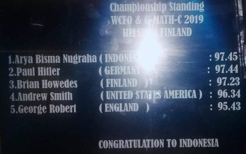 Arya Bisma Nugraha, Siswa MAN IC Siak Juara Dunia Geo Math Competition di Firlandia