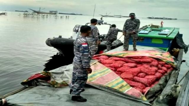 Penyelundupan 9 Ton Bawang Asal Malaysia, Digagalkan TNI AL Dumai